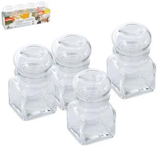 Borcan din sticlă pentru mirodenii 120 ml 4 bucăți