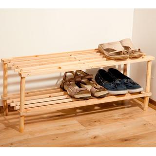 Raft din lemn cu 2 etaje pentru pantofi