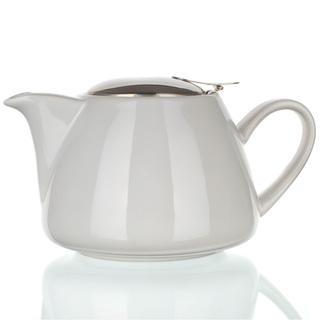 Ceainic din ceramică cu capac din inox și sită Bonnet culoare albă BANQUET