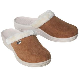 Papuci de casa cu blana pentru femei, maro