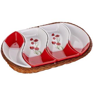 Bol din ceramică pentru servire 4 piese ovale Maci, BANQUET