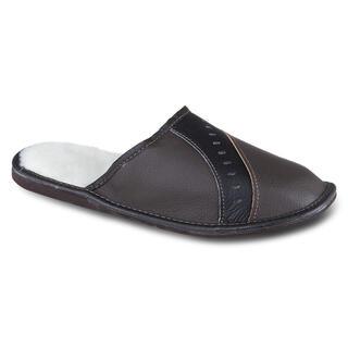 Papuci de casă din piele pentru bărbați, culoarea neagra