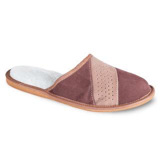 Papuci de casă din piele pentru bărbaţi, culoarea maro