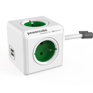 Prelungitor PowerCube Extended USB verde