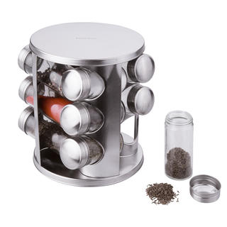 Borcane pentru mirodenii intr-un suport rotativ 12 buc