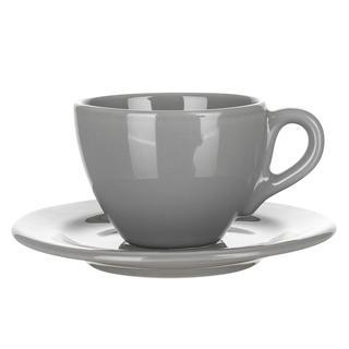 Banquet Ceașcă si farfurioară din ceramică AMANDE gri lucios 200 ml