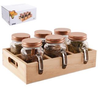 Set pentru condimente amplasat într-un suport de lemn, 6 buc