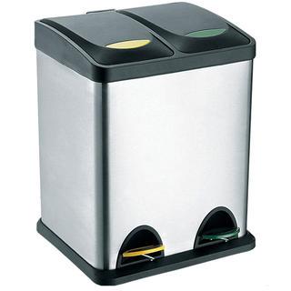 Cosul din inox dual pentru gunoi clasificat TORO, volum 16 l