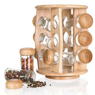 Set pentru condimente BRILLANTE în suport de lemn, 12 buc