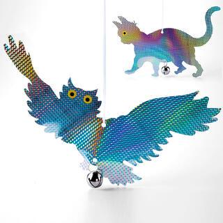 Sperietoare de păsări de agăţat, pisică şi bufniţă reflectorizante, set 2 buc