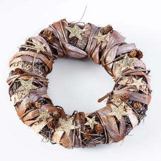 Coroniţă de Crăciun cu scoarţă de mesteacăn maro-aurie 32 cm