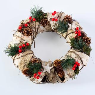 Coroniță de Crăciun cu scoarță de mesteacăn naturală 32 cm
