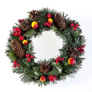 Coroniţă artificială de Crăciun cu mere 30 cm