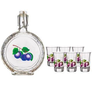 Set ploscă din sticlă și pahare 6 buc