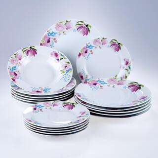 Banquet Set de farfurii din porțelan PINK FLOWERS 18 buc