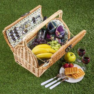 Coș de picnic din nuiele pentru 2 persoane