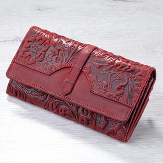Portofel de damă din piele cu relief roşu