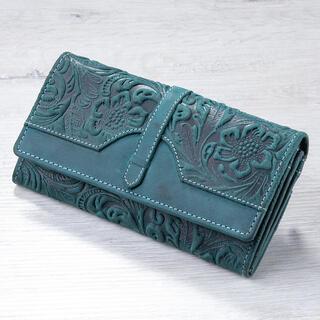 Portofel de damă din piele cu relief verde
