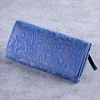Portofel din piele de culoare albastră - de damă