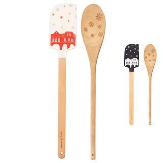 Set spatulă şi lingură de lemn CRĂCIUN
