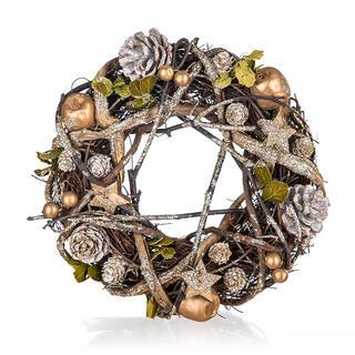 Coroniţă de Crăciun maroniu-aurie, 25 cm