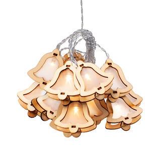 Instalaţie luminoasă cu clopoţei din lemn, 10 becuri LED