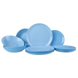 Serviciu de masă din sticlă albastru pal DIWALI, 18 piese