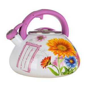 Ceainic emailat cu fluier FLOWERS, 3 L