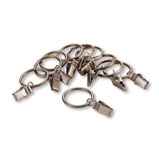 Set inele metalice pentru perdele cu cleme, alamă, 10+10 buc