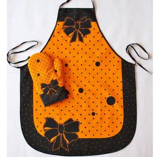 Șorț de bucătărie cu mănușă portocalie