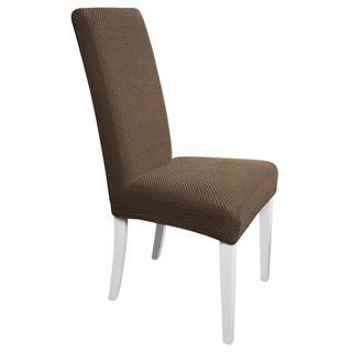 Huse multielastice CARLA maro, scaun cu spatar 2 buc (40 x 40 x 60 cm)