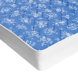 Protecție de saltea matlasată cu aloe vera albastră cu flori albe