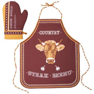 Șorț de bucătărie și mănușă Steak Menu