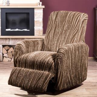 Huse cu două elastice UNIVERSO dungi maro, fotoliu de relaxare (l. 70 - 90 cm)