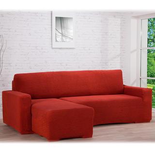 Huse care se întind foarte bine GLAMOUR cărămizie canapea cu otoman stânga (l. 210 - 270 cm)