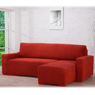 Huse care se întind foarte bine GLAMOUR cărămizie canapea cu otoman dreapta (l. 210 - 270 cm)