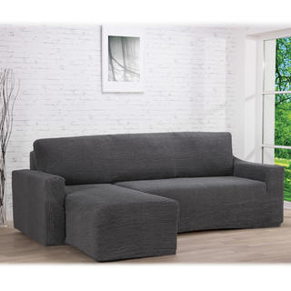 Huse care se întind foarte bine GLAMOUR gri, canapea cu otoman stânga (l. 210 - 270 cm)