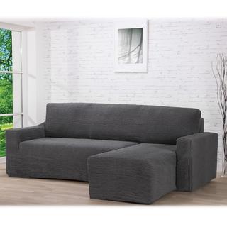 Huse care se întind foarte bine GLAMOUR gri, canapea cu otoman dreapta (l. 210 - 270 cm)