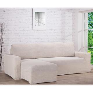 Huse care se întind foarte bine GLAMOUR smântânii, canapea cu otoman stânga (l. 210 - 270 cm)