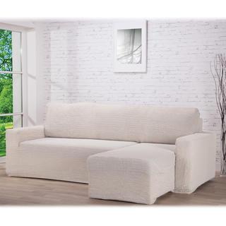 Huse care se întind foarte bine GLAMOUR smântânii, canapea cu otoman dreapta (l. 210 - 270 cm)