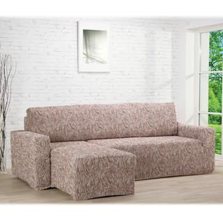 Huse care se întind foarte bine 3D FUSTA bej, canapea cu otoman stânga (l. 210 - 270 cm)