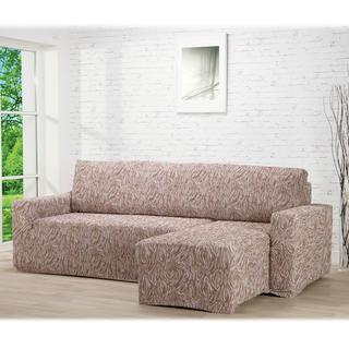 Huse care se întind foarte bine 3D FUSTA bej, canapea cu otoman dreapta (l. 210 - 270 cm)