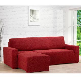 Huse care se întind foarte bine 3D FUSTA cărămizie, canapea cu otoman stânga (l. 210 - 270 cm)