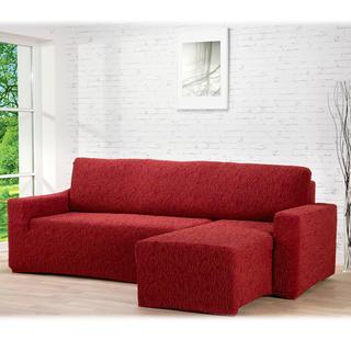 Huse care se întind foarte bine 3D FUSTA cărămizie, canapea cu otoman dreapta (l. 210 - 270 cm)