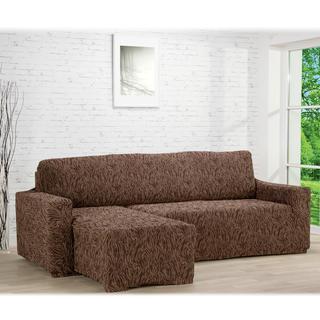 Huse care se întind foarte bine 3D FUSTA maro, canapea cu otoman stânga (l. 210 - 270 cm)