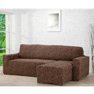 Huse care se întind foarte bine 3D FUSTA maro, canapea cu otoman dreapta (l. 210 - 270 cm)