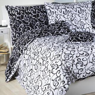 Lenjerie de pat creponată VERONIKA alb-negru
