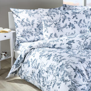 Lenjerie de pat din bumbac Mona alb cu albastru