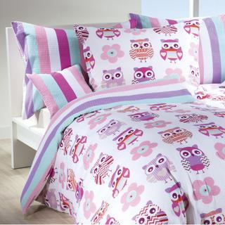 Lenjerie creponată pentru pat de copii Bufnițe