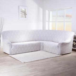 Huse stretch CASTELO alb-gri coltar (l. 300 - 470 cm)